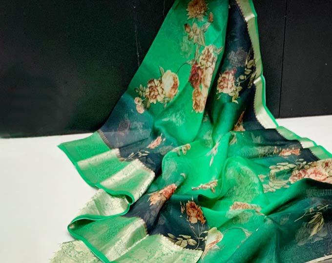 green-digital-print-saree