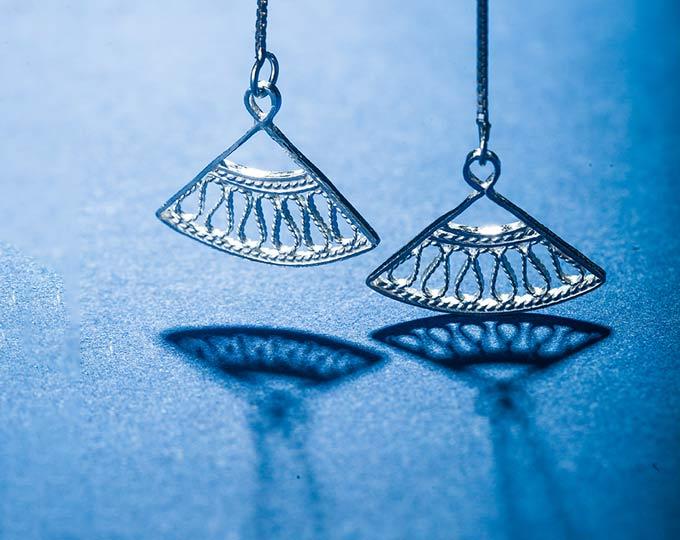 松银花丝耳线中国非遗手工艺银花丝手工银饰品