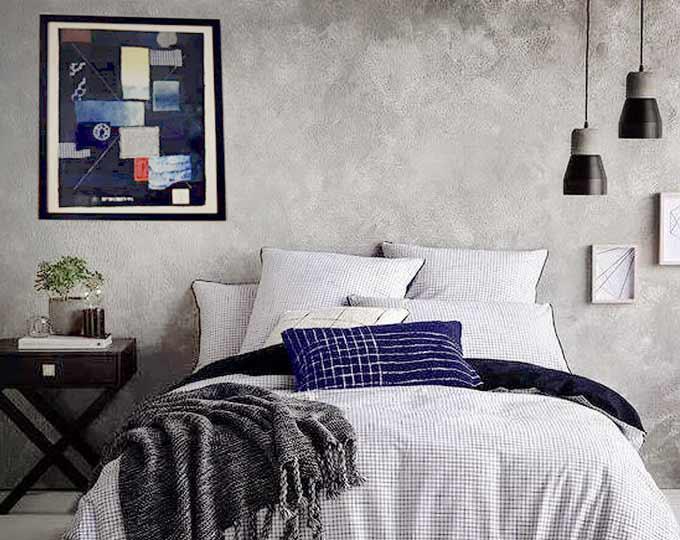 鵔鸃原创设计蓝染草木染拼色抽象装饰布艺挂画