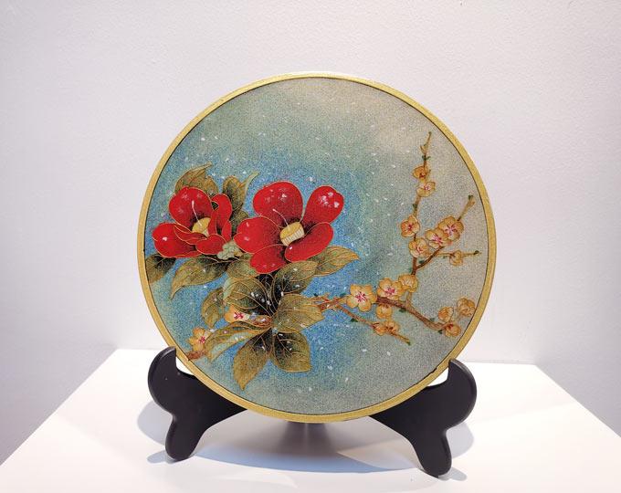 camellia-cloisonne-enamel-painting