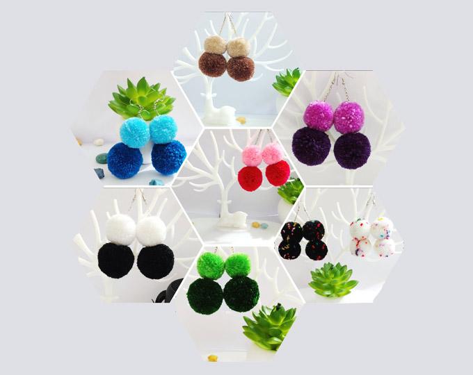 stacked-pom-pom-earrings