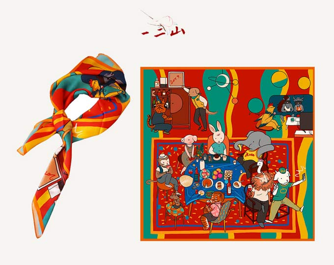 onetwothree-party-silk-scarf-and