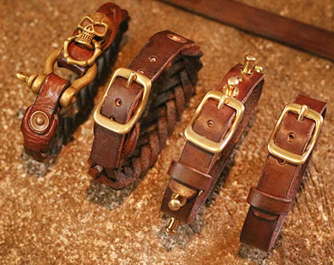 cowhide-brass-chain-bracelet