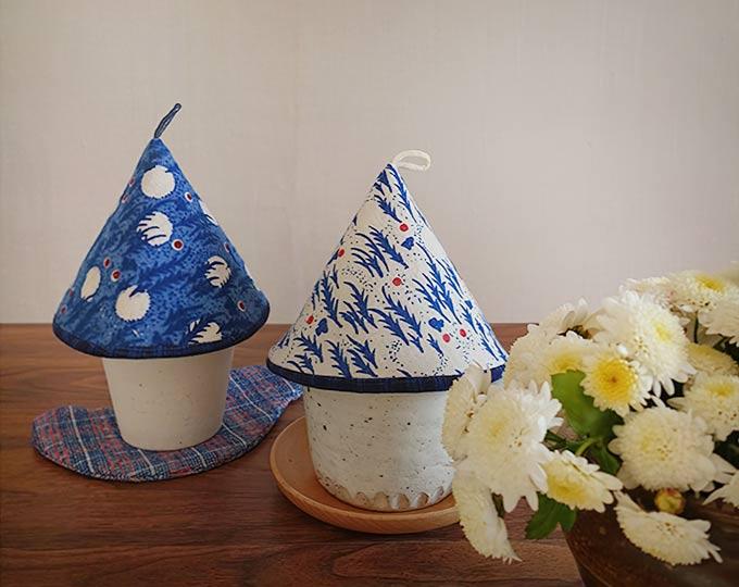 轻山手缝江南传统手织布保温防尘杯罩厨房锅具