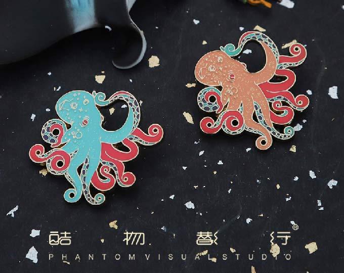 octopus-enamel-metal-brooch-badge