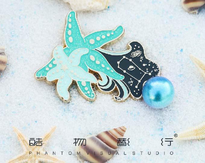 star-fish-enamel-metal-brooch