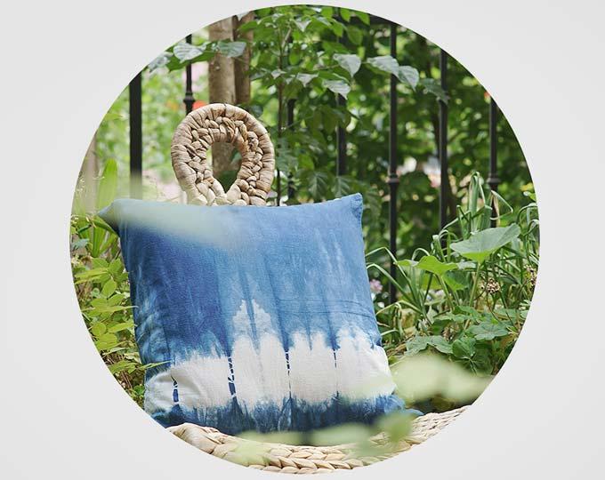纯手工植物蓝染扎染抱枕