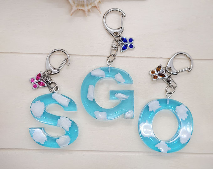 Blue-Cloud-Resin-Letter-Keychains